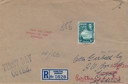 1938   BERMUDA , CERTIFICADO , PRIMER DIA , HAMILTON - LAGOS , REDIRIGIDO A PORT HARCOURT ( NIGERIA ) , YV. 113 - Bermuda