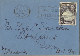 1938   BERMUDA , SOBRE CIRCULADO , HAMILTON , MAT. TURISTICO , YV. 108 - Bermudas