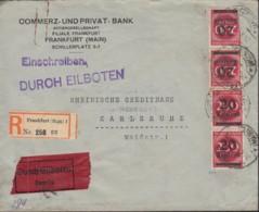 INFLA DR 4x 282 I EF, Geprüft: Peschl, Auf R-Eil-Brief Der Commerz- Und Privat-Bank, Gestempelt: Frankfurt M  24.8.1923 - Allemagne