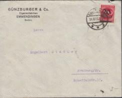 INFLA DR 282 II EF, Geprüft: Peschl, Auf Brief Der Fa. Günzburger & Co.,Cigarren, Gestempelt: Emmendingen 24.8.1923 - Allemagne