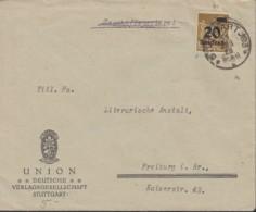 INFLA DR 281 EF, Geprüft: Peschl, Auf Brief Der UNION, Dt. Verlagsgesellschaft, Gestempelt: Stuttgart 31.AUG 1923 Letzt - Allemagne