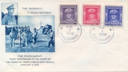 Philippines 1948 FDC Anniversary Of The Entry Of USA Armed Force In Manila Commanded By The General Douglas MacArthur - Seconda Guerra Mondiale