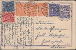 INFLA  DR P 147 A + ZFr. 185, 3x 189, 225, 228 P, Postreiter, Gestempelt: Karlsruhe 13.1.1923 - Infla