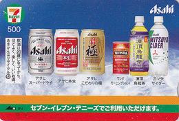 Carte Japon - Boisson Alcool - BIERE Asahi & Cidre - BEER & Cider Japan Quo 7-11 Card - BIER & Apfelwein - CERVEZA - 803 - Publicité
