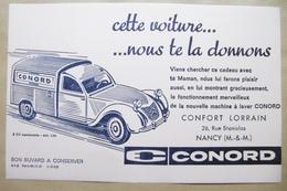 """Buvard Automobile 2 CV Camionnette """"CONORD"""" CONFORT LORRAIN à NANCY 54 MEURTHE-ET-MOSELLE - Automobil"""
