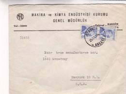 1956 TURKEY COMMERCIAL COVER-MAKINA VE KIMYA ENDUSTRISI KURUMU GENEL MUDURLUK. CIRCULEE TO USA- BLEUP - Lettres & Documents