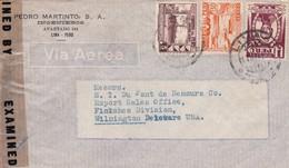 1945 PERU COMMERCIAL COVER-PEDRO MARTINTO SA, INGENIEROS. CIRCULEE TO USA, OPENED BY CENSOR- BLEUP - Pérou