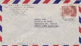 1960 BOLIVIA COMMERCIAL COVER-PACOR LTDA, SEGUROS. CIRCULEE TO ARGENTINE- BLEUP - Bolivie