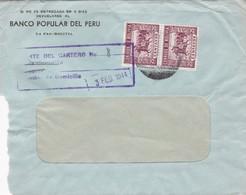 1944 BOLIVIA COMMERCIAL COVER-BANCO POPULAR DEL PERU. CIRCULEE, TIMBRE A PAIR- BLEUP - Bolivie