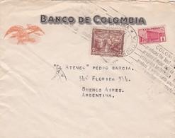 1942 COLOMBIA COMMERCIAL COVER-BANCO DE COLOMBIA. CIRCULEE TO ARGENTINE. BANDELETA PARLANTE- BLEUP - Colombia