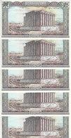 LEBANON 50 LIVRES LIRA 1988 P- 65b LOT X5 UNC NOTES LOT */* - Lebanon