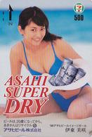 Carte Prépayée Japon Quo 7/11 - BIERE ASAHI & Jolie Fille - BEER & Sexy Girl Japan Prepaid Card  - BIER - CERVEZA - 808 - Publicité