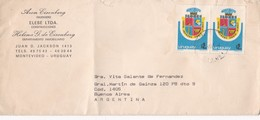 1980'S URUGUAY COMMERCIAL COVER-ARON EISENBERG INGENIERO, ELEBE LTDA CONSTRUCCIONES, CIRCULEE TO ARGENTINE- BLEUP - Uruguay