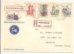 Zomerzegels 1951 N.V.P.H. 568-572 Aangetekend S'Gravenhage>USA. Envelop Philatelistische Dienst - 1949-1980 (Juliana)