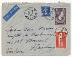 Enveloppe Affr. Composé 3F Mermoz, 55c+ 45c Gloire Service Santé, 10c Semeuse ) Vichy (Allier) 1933 Pour Haiphong - Francia