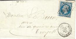 1867- Lettre De RIGNY-LE-FERRON ( Aube ) Cad T15 Affr. N°22 Oblit. G C  3138 - Marcophilie (Lettres)