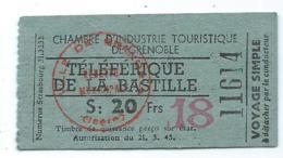 ANCIEN TICKET TELEFERIQUE TELEPHERIQUE DE LA BASTILLE, VOYAGE SIMPLE, CHAMBRE D'INDUSTRIE TOURISTIQUE DE GRENOBLE, ISERE - Transporttickets