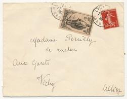 Enveloppe Affr. Composé (90c +35c Monument Victimes Civiles, 10c Semeuse) Cad Lyon 1940 - Francia
