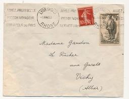 Enveloppe Affr. Composé (90c +35c Monument Victimes Civiles, 10c Semeuse) OMEC Lyon Grolée 1940 - Francia
