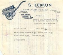 DOCUMENT COMMERCIAL 1950 LEBRUN GUY CONSTRUCTEUR DE REMORQUE A SAINT JULIEN DU SAULT YONNE - Frankreich