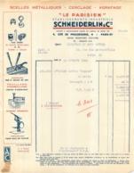FACTURE 1942 SCHNEIDERLIN ET CIE SCELLES METALLIQUES CERCLAGE AGRAFAGE  4 CITE DE PHALSBOURG PARIS XI - 1900 – 1949