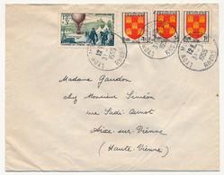 Enveloppe Affr. Composé (JDT 1955 Poste Par Ballons, 3x1F Blason Poitou) Cad Lyon Montplaisir 1955 - France