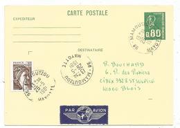 ENTIER 80C BEQUET CP +SABINE 40C 98 MAMOUTZOU 26.5.1981 MAYOTTE AVION FRANCE - Marcophilie (Lettres)