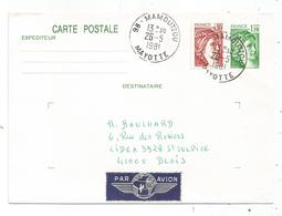 ENTIER SABINE 1FR10 CP +SABINE 10C 98 MAMOUTZOU 26.5.1981 MAYOTTE AVION FRANCE - Marcophilie (Lettres)