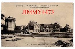 CPA - La Place Et Le Pavillon De J-J Rousseau, Bien Animée - FLAMANVILLE ( Arr. De Octeville ) 50 Manche - Ed. DE RANGO - Octeville