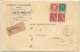 LETTRE RECOMMANDEE POUR LA SUISSE 1942 AVEC 4 TIMBRES PETAIN / MERCURE - IMPRIMES RECOMMANDES - - Postmark Collection (Covers)