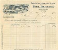 FACTURE 1932 PAUL DAMANCE EPICERIE VINS ET SPIRITUEUX EN GROS A LANGRES - France