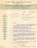 FACTURE 1955 SOCIETE CHARBONNIERE COUDERC HOUILLES COKES 9 RUE EMILE COMBES A SAINT ETIENNE - 1950 - ...