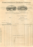 FACTURE 1926 ETABLISSEMENTS GEORGES LOSFELD  LAINES ET PLUMES A SAINT OUEN 114 AVENUE MICHELET - France