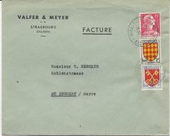 LETTRE POUR LA SUISSE 1957 AVEC 3 TIMBRES BLASONS / MARIANNE DE MULLER - TARIF FACTURE - - 1921-1960: Moderne