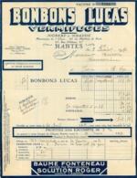 FACTURE 1931 BONBONS LUCAS VERMIFUGES ETS JOUBERT ET SIBASSIE A NANTES 17 RUE D'ORLEANS - France