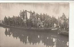 """Rare Carte-photo Groupe De Militaires Sur Bateau à Vapeur """"La Meuse"""" - 1914-18"""