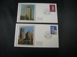 "BELG.1987 2251 & 2252  FDC's Soie/zijde ( Bruxs ) : "" Europa 87 "" - 1981-90"