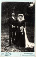 Gd Tirage Photo Albuminé Artistique Original Cartonné Portrait De Mariés D'Avranches, Coiffe & Bouquet Par Paul Hay Fils - Alte (vor 1900)