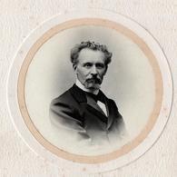 Gd Tirage Photo Albuminé Artistique Original Cartonné Circulaire, Portrait De Barbichette & Moustachu D'Avranches Yvondy - Alte (vor 1900)