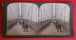 Photos Stéréo 1903 NY Along The Walk Brooklyn Bridge New York  éditeur White CO USA N°21 - Stereoscopic