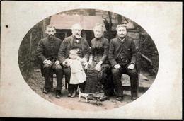 Gd Tirage Photo Albuminé Artistique Original Cartonné Famille Au Jardin & Jouet Calèche, Attelage Du Petit à Avranches - Alte (vor 1900)