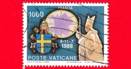 VATICANO - Usato - 1989 -  Viaggi Di Giovanni Paolo II Nel 1988 - 1000 L. • Francia - Vatican