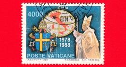 VATICANO - Usato - 1989 - Viaggi Di Giovanni Paolo II Nel 1988 - 4000 L. • Italia - Vatican