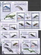 AA262 2009 DES COMORES MARINE LIFE WHALES LES BALEINES 1KB+1BL+5 LUX BL MNH - Baleines