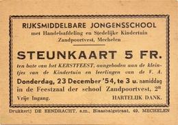 Ticket D' Entrée Ingangsticket - Steunkaart Kerstfeest Rijksmiddelbare Jongensschool Mechelen 1954 - Tickets - Entradas