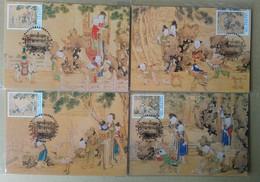 Maxi Cards 1999 Ancient Chinese Painting- Joy Peacetime Stamps Kite Lantern Festival Crane Elephant Bird - 1945-... Republic Of China