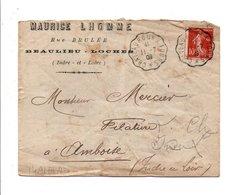 AMBULANT DE CHATEAUROUX A TOURS 1909 SUR LETTRE A EN TETE DE BEAULIEU-LOCHES INDRE ET LOIRE - Marcofilie (Brieven)