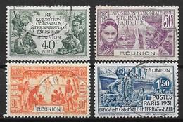 REUNION : SERIE EXPOSITION 1931 N° 119/122 OBLITERATIONS LEGERES - TRES FRAIS - Reunion Island (1852-1975)