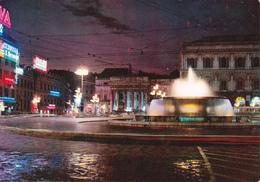GENOVA DI NOTTE - PIAZZA DE FERRARI CON FONTANA LUMINOSA - INSEGNA PUBBLICITARIA BIRRA CERVISIA - PHILIPS - 1969 - Genova (Genoa)