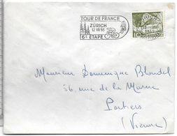 SPORT CYCLISME CACHET POSTAL ETAPE TOUR DE FRANCE 12 JUILLET 1955 VILLE ZURICH SUISSE - Radsport